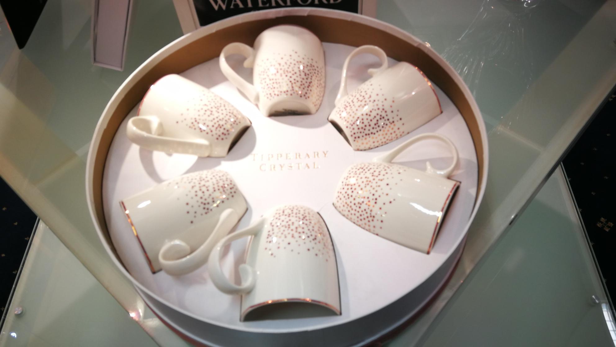 beautiful mugs in a box