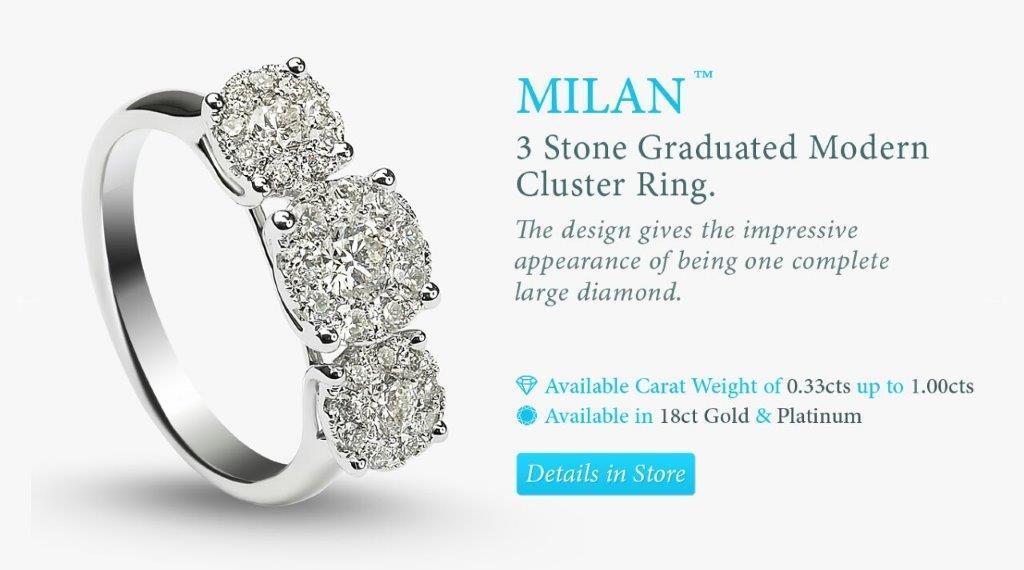 3 stone white gold diamond engagement ring
