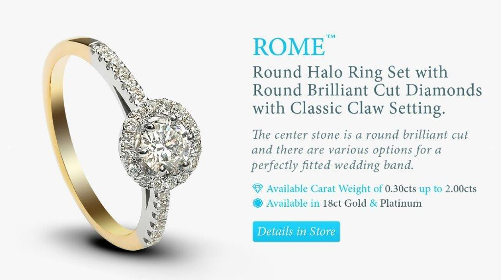 Halo white and yellow gold diamond engagement ring